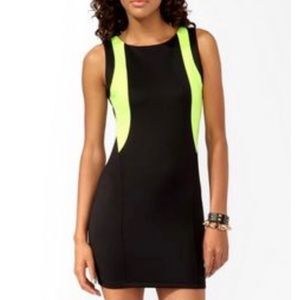 Forever 21 Black And Neon Green Bodycon Dress